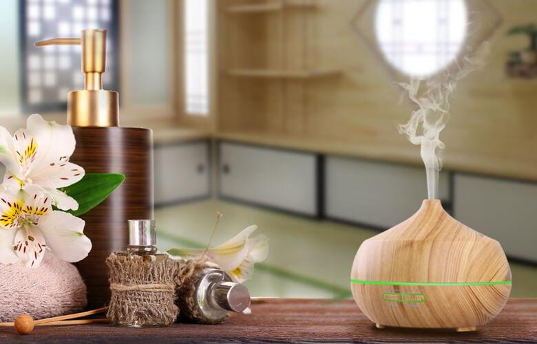 癒される木目調リゾート感覚のアロマディフェーザー加湿器!7色のLEDで気分次第